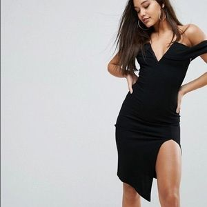 Ginger Fizz Bardot Plunge Front Midi Dress